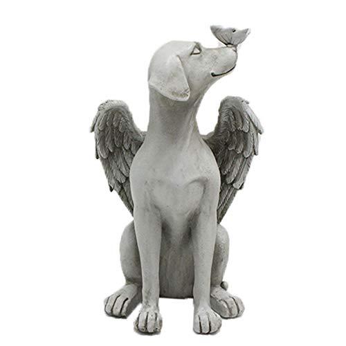 POHOVE - Statuina commemorativa per cani, angelo e tomba, con ali per cani, pietra e tomba, ideale come decorazione commemorativa per prato, cortile e giardino