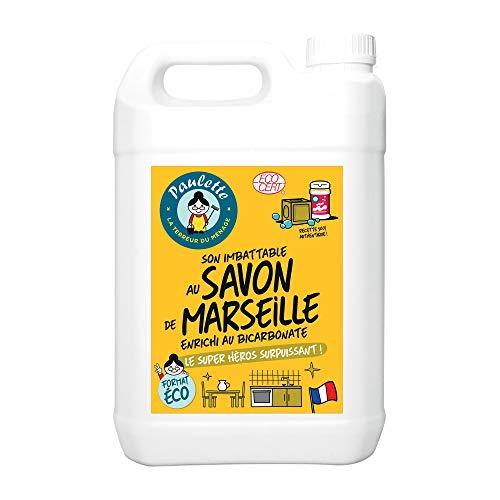 Paulette Savon de Marseille Enrichi au Bicarbonate Multi-Surfaces/Authentique/Ecocert Ultra-Dégraissant Surpuissant/Détache/Désincruste à Fond 5 L