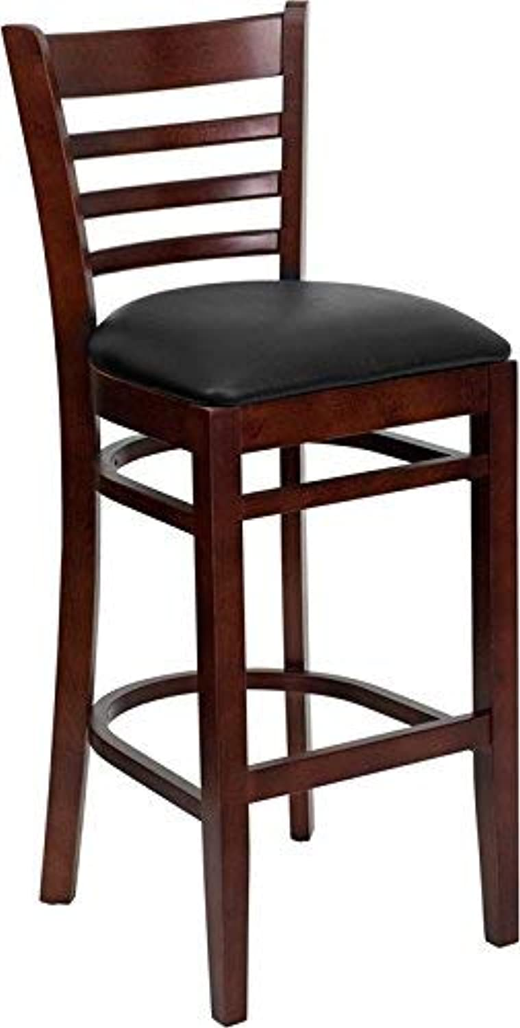 Flash Furniture HERCULES Series Mahogany Finished Ladder Back Wooden Restaurant Bar Stool - Black Vinyl Seat