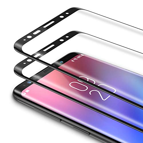 Bewahly Vetro Temperato Samsung Galaxy S9 [2 Pezzi], 3D Curvo Copertura Completa Pellicola Protettiva in Vetro Temperato per Samsung Galaxy S9 [9H Durezza, Alta Definizione] - Nero