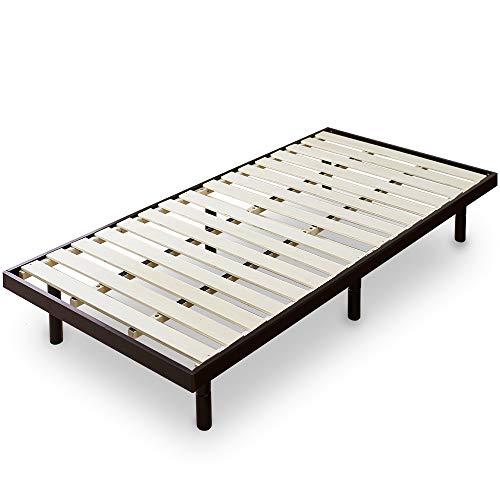 アイリスプラザ ベッド すのこ シングル 天然木 3段階高さ調整 耐荷重約200kg ブラウン 幅約98×長さ約200cm×高さ約6~30㎝