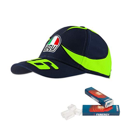 Valentino Rossi Cap Helmdesign Kappe MotoGP Fanartikel VR46 blau + 2X FANERGY Traubenzucker