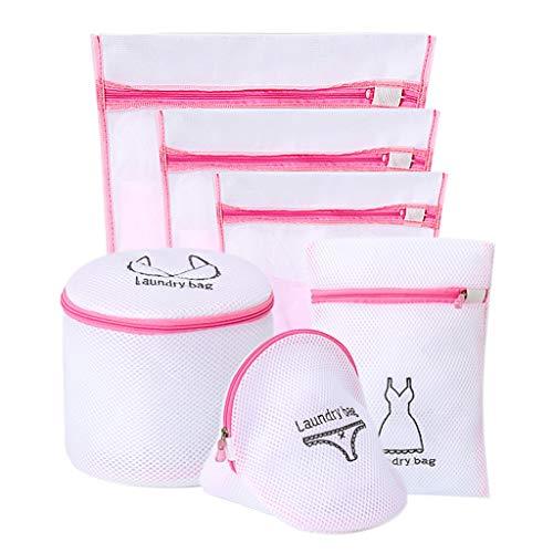 OUBOT Bolsa de lavandería de malla dedicada a lavadora, bolsa para ropa interior, bolsa para ropa interior, bolsa para ropa sucia rosa de seis piezas (color: blanco)