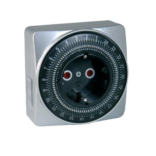 UNITEC Mechanische Tages-Zeitschaltuhr, für Innengebrauch, ansprechende quadratische Form, analog, silber, 15 Minuten-Abstände einstellbar