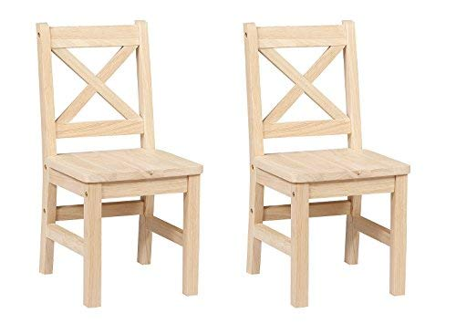 eHemco Solid Hard Wood X Back Kids Chair - Set of 2 (Unfinished)
