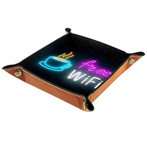 Schreibtisch Ablagefach 20.5x20.5CM,Neon-Café-Schild mit kostenloser WLAN-Zone