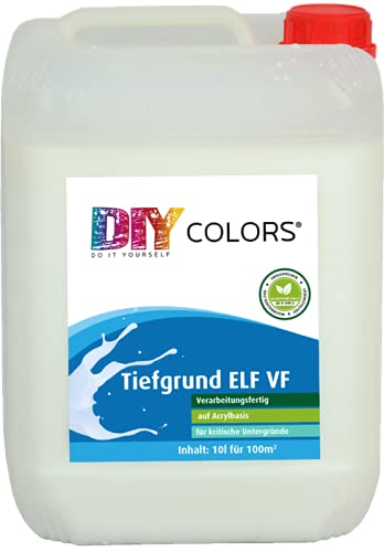 DIY Colors Tiefgrund ELF VF 10l - Acryl Tiefengrund, verarbeitungsfertig, innen und außen, Haftgrund, hochwertige Spezial-Grundierung in Maler- und Handwerkerqualität, Haftbrücke