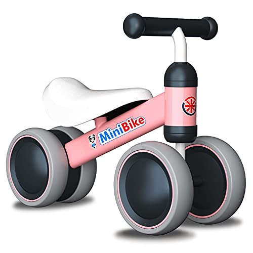 Baby Balance Bikes Gifts for 1 Year Old Girls - Anti-Drop Baby Toys Toddler Bikes for 10-24 Months 1st Birthday Gift (Pink)