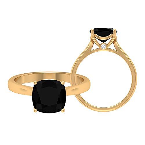 Rosec Jewels 18 quilates oro amarillo cojín Round Brilliant Green Moissanite Ónix negro