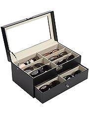 Z ZELUS brillendoos brillenbewaardoos organizer brillen bewaardoos zonnebrillen opslag brillenpresentatie casebrillenkoffer eyeglass case met etalage PU leder
