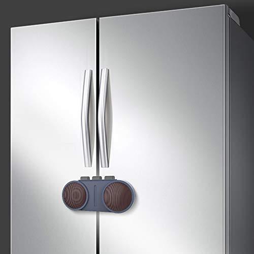 EUDEMON Cerradura de puerta de refrigerador francés, cerradura de refrigerador segura para niños, para refrigeradores o gabinetes de puertas dobles o múltiples, fácil de instalar (Azul)
