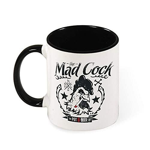 N\A Taza de Dos Tonos Taza Negra Gallo Loco Gran Regalo Taza Divertida Taza de café Personalizada de cerámica