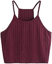 SheIn Women's Summer Basic Sexy Strappy Sleeveless Racerback Crop Top Burgundy Medium