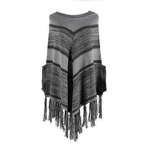 NQING Otoño Suéter Retro Casual Mujer Invierno Poncho De Punto Capa Mujer Chal A Rayas Cárdigan Suéter Superior