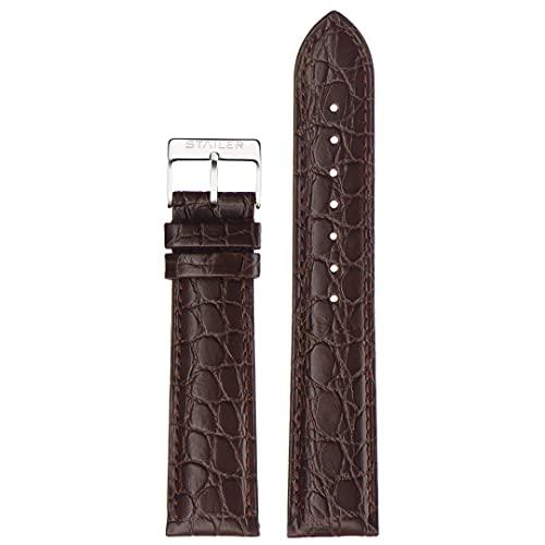 Correa de reloj de piel auténtica   Stailer Original Collection   Piel de becerro italiana con relieve de cocodrilo   Tamaño 22 mm, 20 mm, 18 mm, marrón, 20mm (L),
