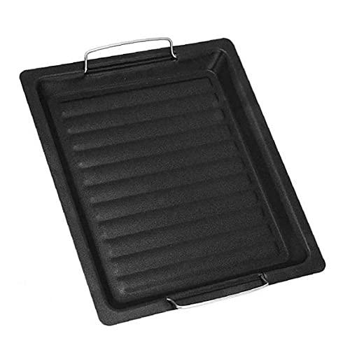 Långpanna Barbecue Plate med handtag Non Stick Roast Vegetabiliska Grill Pan Svart, till Hem Utomhus Grill