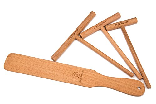 """Craft Kitchen Crepe Spreader and Spatula Set - 4 Piece (Crepe Spatula 14"""" and 3.5"""", 5"""", 7"""" Crepe Spreaders) All Natural Beechwood and Finish - Comfortable Sizes Will Fit Any Crepe Pan - Made"""