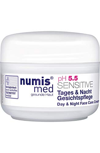numis med Gesichtscreme Tag & Nacht ph 5.5 SENSITIVE - Gesichtspflege vegan - Gesichtscreme für sensible, feuchtigkeitsarme & zu Allergien neigende Haut (1x 50 ml)