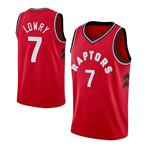 ZLWJ Toronto Raptors Kyle Lowry Camiseta para Hombre # 7 Uniforme De Baloncesto, Informal Poliéster Bordado Malla Transpirable Camiseta Superior Camiseta Sin Mangas Balon Red-L