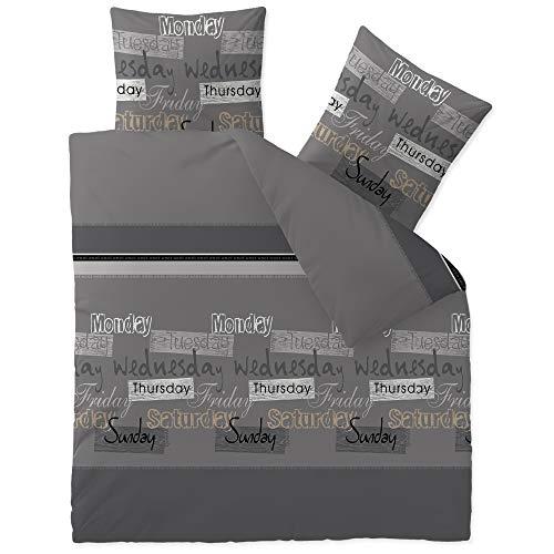 CelinaTex Touchme Biber Bettwäsche 200 x 220 cm 3teilig Baumwolle Bettbezug Carla grau anthrazit schwarz