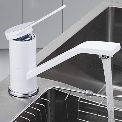 Sink Taps Keuken Kraan Dek Gemonteerd Wit Spray Lak Roteerbare Keuken Mixer Tap Enkele Houder Enkele Gat Koud en Warm Water