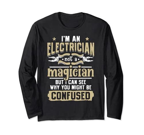 Regalo vintage con texto en inglés 'I'm An Electrician Not A Magician Funny Lineman Manga Larga