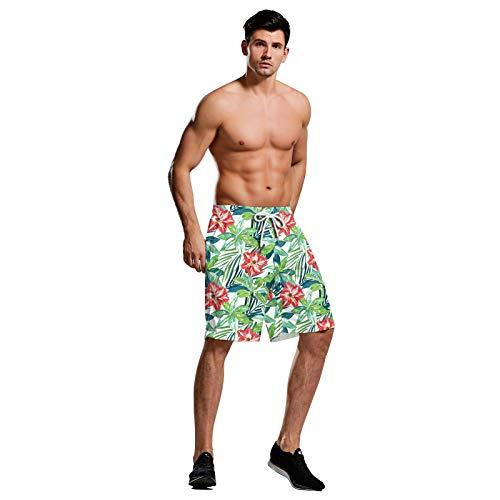 CYPZ 3D Leaf Print Strandhose für Männer Summer Seaside Beach Sportshorts im hawaiianischen Stil Boxershorts-XL