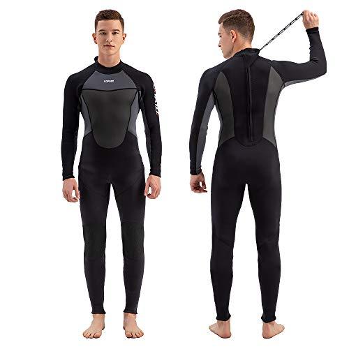 COPOZZ 3mm Unisex Neopren Neoprenanzug, Reißverschluss hinten Ganzkörper Tauchanzug Langarm UV-Schutz Tauchhaut Warm halten zum Schnorcheln, Tauchen Schwimmen, Surfen