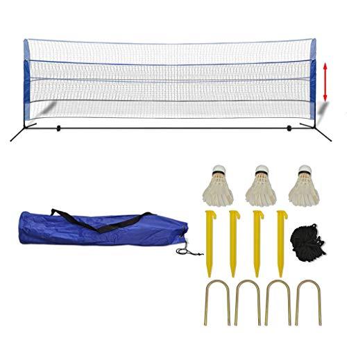 Roderick Irving Badminton-Netz mit Volants aus Stoff und PE 500 x 155 cm und Maße des Netzes: 500 x 72 cm (L x H) weiß und blau