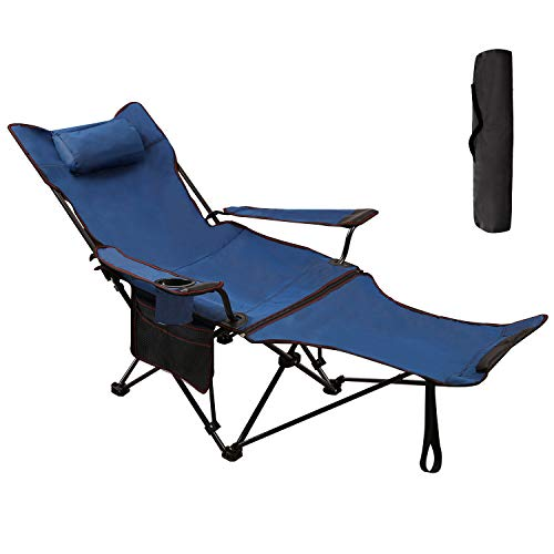 RedSwing Recliner Camping Chair with Footrest, Folding Camp Chairs for Adults, Heavy Duty Lightweight and Portable, 300lbs Weight Capacity, Blue