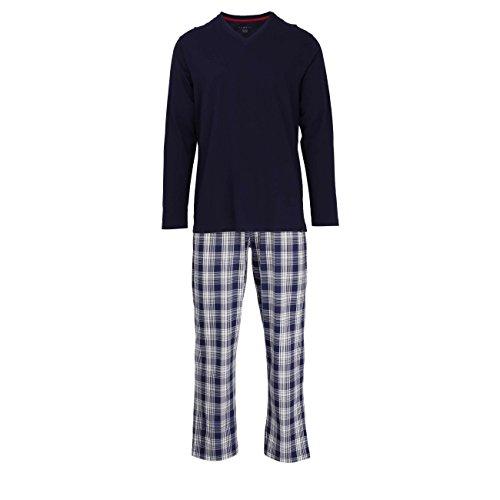 Bugatti Herren Pyjama, Schlafanzug, Shirt und Hose, Kurzarm, Baumwolle, Single Jersey, blau, kariert 58