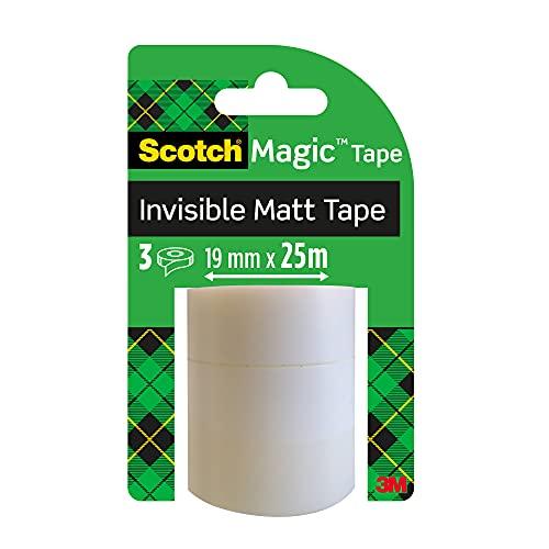 Scotch Magic Tape Nastro Adesivo, 19 mm x 25 m, 3 Pezzi, Ottimo per Ufficio e Scuola