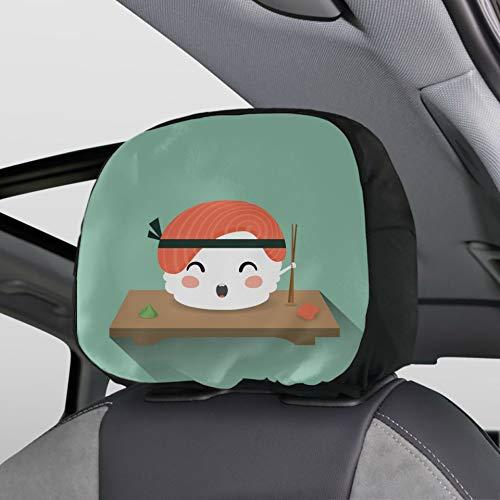 Plsdx Copri poggiatesta per Auto Kawaii Sushi Giapponese Cibo Poggiatesta Coprisedile per Auto Set di 2 Universale per Auto Furgoni Camion Cuscino poggiatesta Moda Accessori Interni per