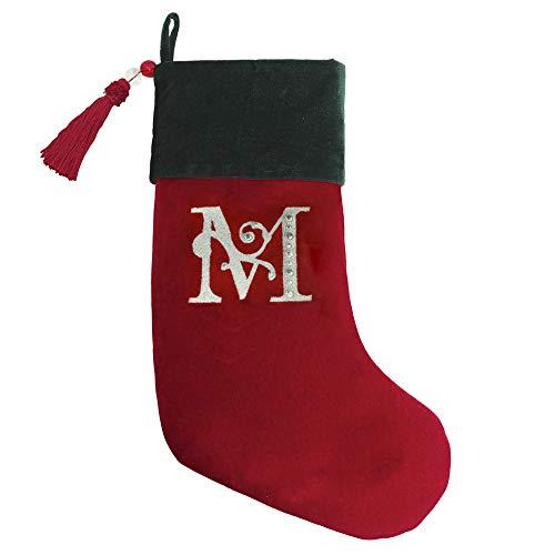 Christmas Stocking Red & Green Velvet with Tassel, Rhinestone Monogram (M)