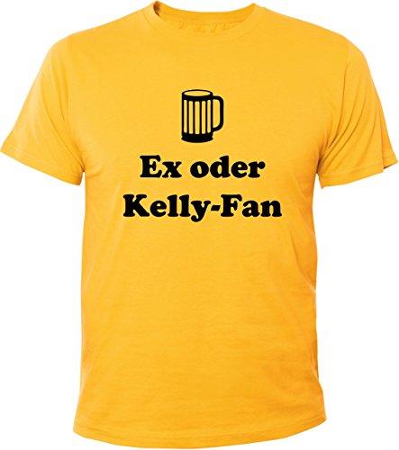Mister Merchandise Witziges Herren Männer T-Shirt Ex oder Kelly-Fan Kelly Fan Family Saufen Party, Größe: L, Farbe: Gelb