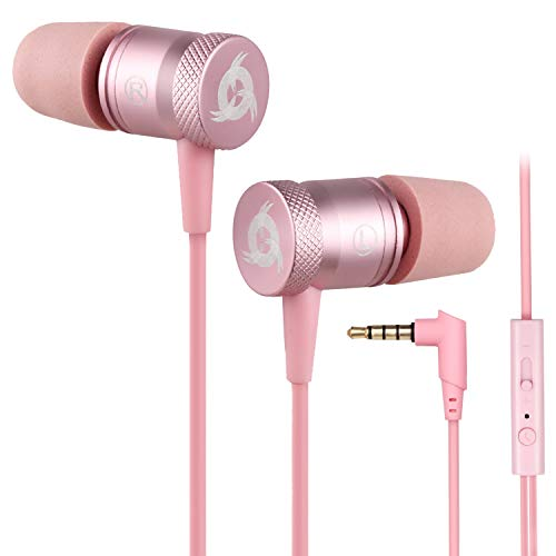 KLIM Fusion - Auriculares con micrófono para móvil + Garantía 5 años + Innovadora Espuma de Memoria + Jack 3,5 mm + Compatibles con Smartphone, Tablet, Consola, PC - Nueva Versión 2021 - Rosa Oro