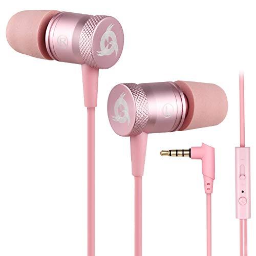 KLIM Fusion Kopfhörer in Ears mit Mikrofon - Langlebig - Innovativ: In-Ear Kopfhörer mit Memory Foam - Neue 2021 Version - 3.5 mm Jack - Sport Gaming In Ear Kopfhörer - Rosa Gold