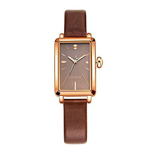 CHENDX Modelos Femeninos nuevos Relojes de Moda Retro Cuadrados pequeños Miss Shi Ying Hoja de aleación de Vidrio Templado (Color : Brown)