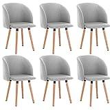 WOLTU 6X Sillas de Comedor Nordicas Estilo Vintage Dining Chairs Juego de 6 Sillas de Cocina Sillas Tapizadas en Lino Silla de Conferencia Silla de Escritorio Gris Claro BH120hgr-6