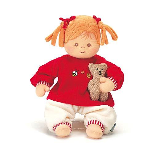 Sterntaler 3011570 Spielpuppe Magdalena, Integrierte Rassel, Alter: Für Babys ab der Geburt, 33 cm, Rot/Beige