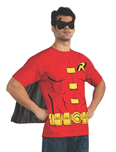 DC Comics Men's Robin T-Shirt With Cape And Mask, Red, X-Large