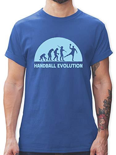 Handball - Handball Evolution hellblau - L - Royalblau - Handball t-Shirt sprüche - L190 - Tshirt Herren und Männer T-Shirts