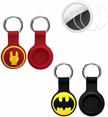 AirTag Case 2 Pack AirTag Keychain Silicone AirTag Holder Cover |AirTag Case with Anti-Lost Key Loop Anti-Scratch Protective Cover Compatible with AirTags 2021