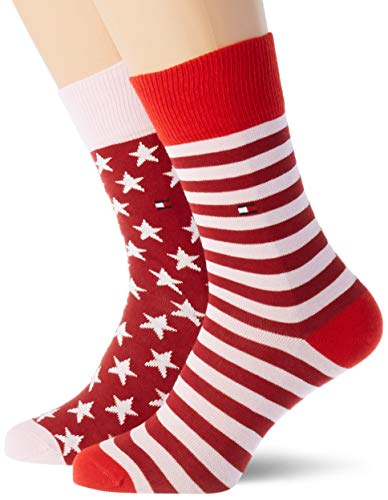 Tommy Hilfiger Girls TH Kids 2P Stars and Stripes Socks, Rouge red, 31/34 (2er Pack)