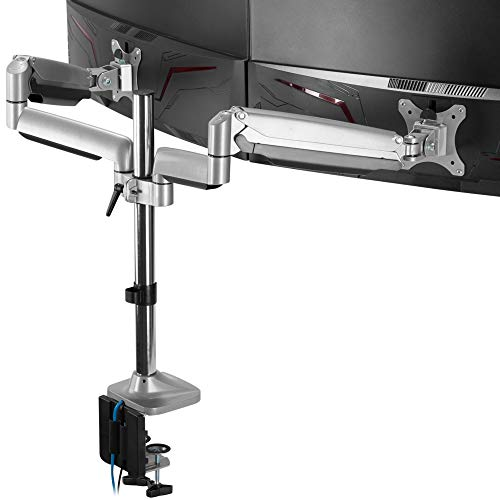 AVLT Dual 13'-32' Monitor Arm Desk Mount fits Two Flat/Curved Monitor Full Motion Height Swivel Tilt Rotation Adjustable Monitor Arm - Extra Tall Pole/VESA/C-Clamp/Grommet/Cable Management