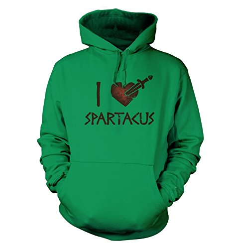 Big Mouth Clothing I Heart Spartacus Adult's Hoodie (X- Small (34 Chest)/Kelly Grün)