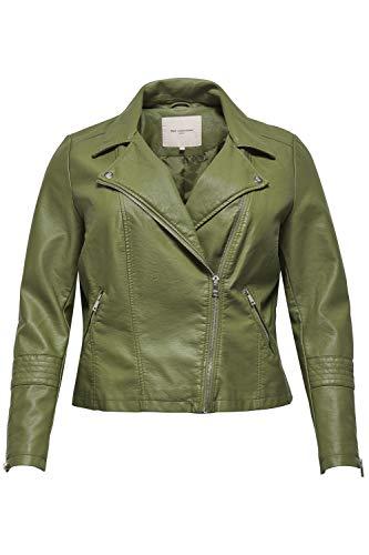 ONLY Carmakoma Caremmy Faux Leather Biker ESS Chaqueta de Cuero, Capulet Olive, 48 para Mujer
