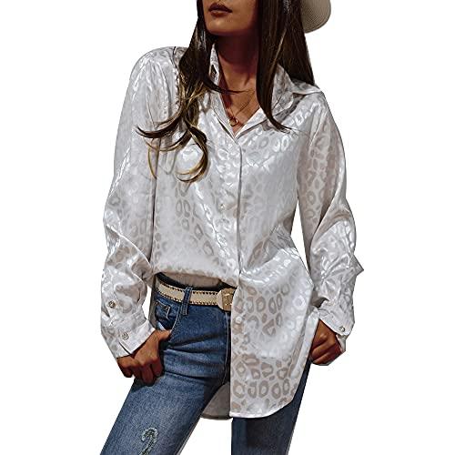 Hiweld Elegancka bluzka damska z długim rękawem, odświętna bluzka damska z nadrukiem, biały, M
