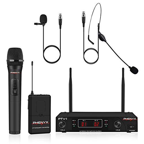 Wireless Microphone System, Phenyx Pro VHF Cordless Mic Set With 1 Handheld+1 Headset+1 Lapel+1 Bodypack, Stable Signal, Long Range, Best for Presentation, Interview, Church, Wedding,Events (PTV-1B)