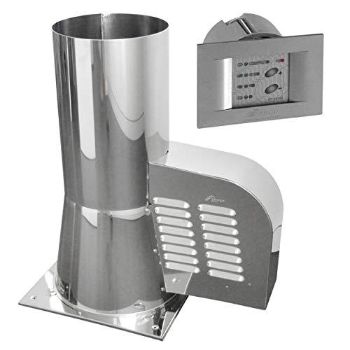 Subtiel 6006-SR-6065 Rauchgasventilator GCK200 mit Bodenplatte + 12-Stufen-Regler Unterputz, Edelstahl